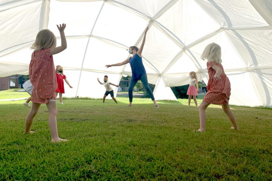 These JK students have dance class in a spacious yurt.