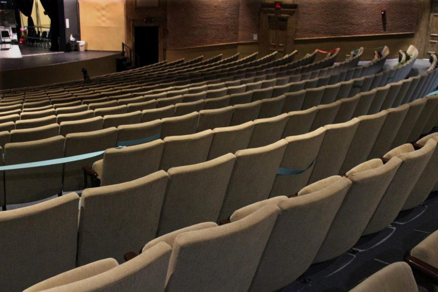 Due to COVID-19, the theater stays empty.