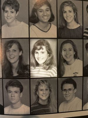 This image was taken from a 1991 Rhodes College yearbook. This is Amy Coney Barretts freshman picture.
