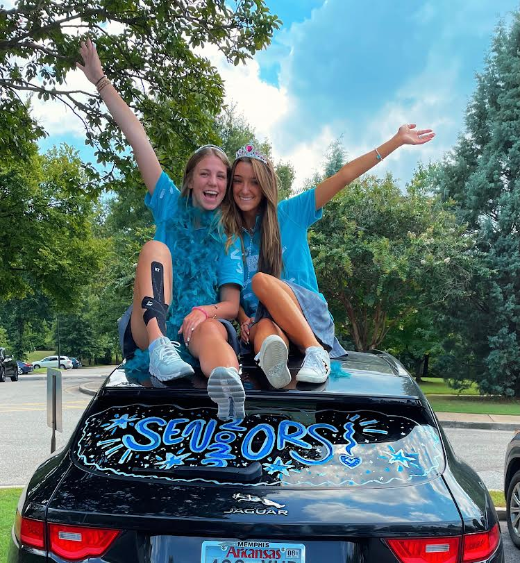 Seniors decorate their cars for the first day of school